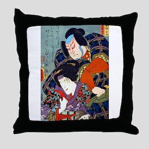 Double Kabuki Actor Portrait Throw Pillow