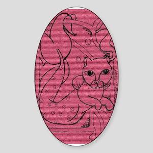 Rose MerCat Oval Sticker