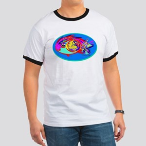 FISH AND ABSTRACT SEA SCENE. Ringer T