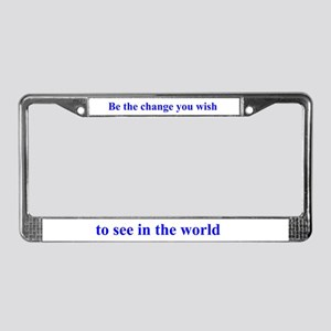 Gandhi-Be the change License Plate Frame