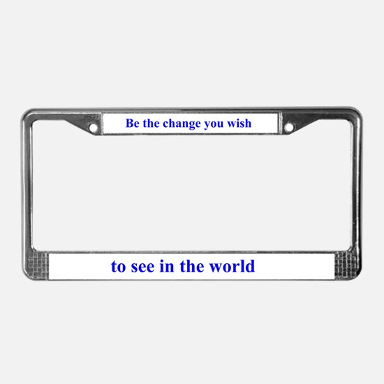Gandhi-Be the change License Plate Frame