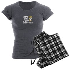 This Girl Loves Kittens Women's Charcoal Pajamas