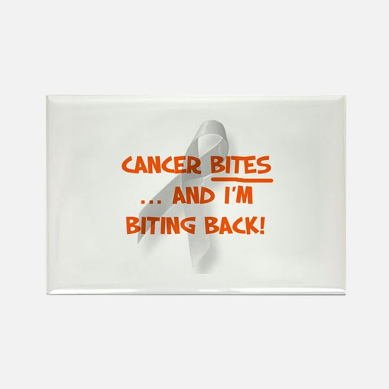 Cancer bites, hazard orange Rectangle Magnet
