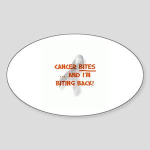Cancer bites, hazard orange Oval Sticker