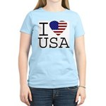 I Love USA Women's Pink T-Shirt