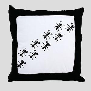 Black Ant Trail Throw Pillow