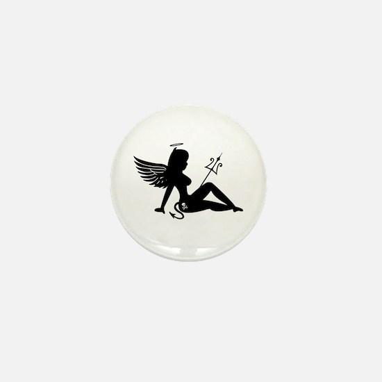 Angel Devil Silhouette Girl Mini Button