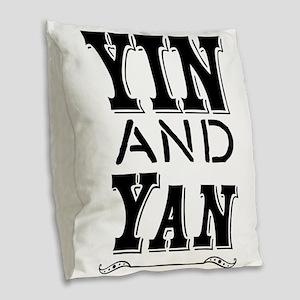 Yin and Yan Burlap Throw Pillow