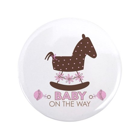 "Baby Girl Rocking Horse 3.5"" Button"
