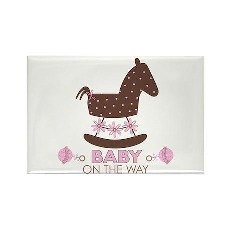 Baby Girl Rocking Horse Rectangle Magnet