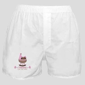 Twin Girls On Way Boxer Shorts
