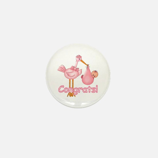 Congrats! Pink Stork Mini Button