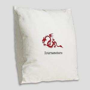 Dragon Tattoo Burlap Throw Pillow