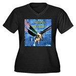 Swine Flew Women's Plus Size V-Neck Dark T-Shirt