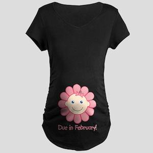 Due in February Baby Girl Maternity Dark T-Shirt