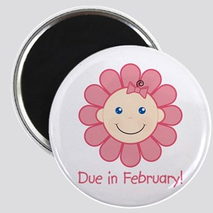 Due in February Baby Girl Magnet