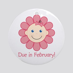 Due in February Baby Girl Ornament (Round)
