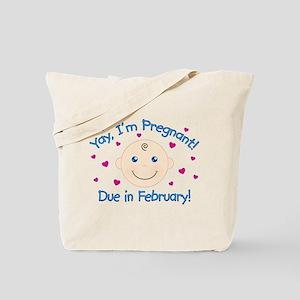Pregnant Due February Tote Bag