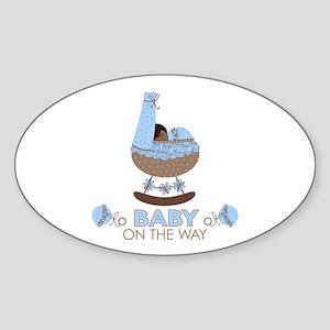 Baby Boy On Way Oval Sticker