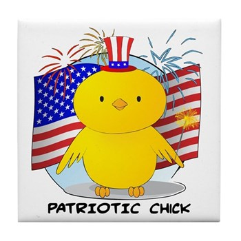 Patriotic Chick Tile Coaster
