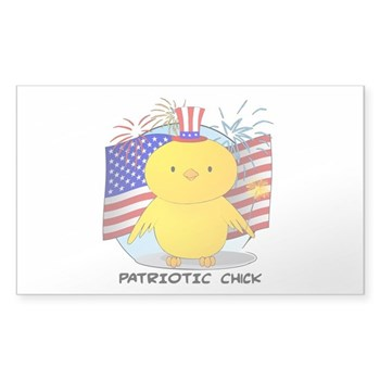 Patriotic Chick Rectangle Sticker