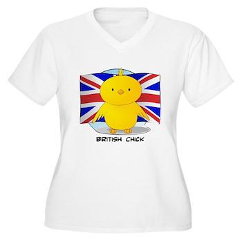British Chick Women's Plus Size V-Neck T-Shirt