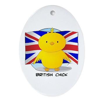 British Chick Oval Ornament