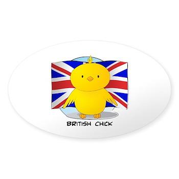 British Chick Oval Sticker (10 pk)