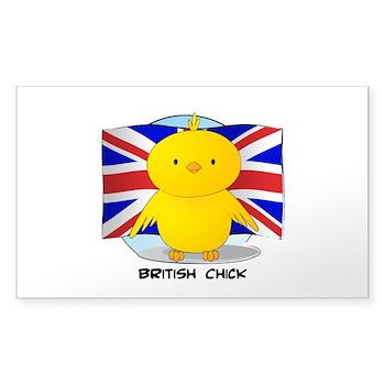 British Chick Rectangle Sticker 50 pk)