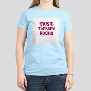MUSIC THERAPY  ROCKS Women's Pink T-Shirt