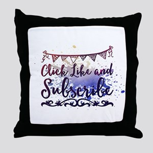 Click Like and Subscribe Throw Pillow