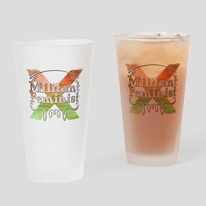 Militant Feminist Drinking Glass