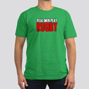 Real Men Play Rugby Men's Fitted T-Shirt (dark)