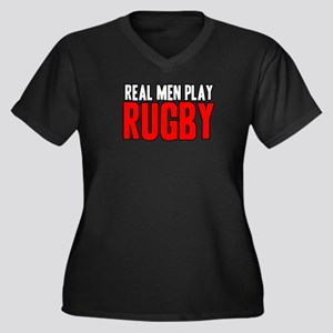 Real Men Play Rugby Women's Plus Size V-Neck Dark