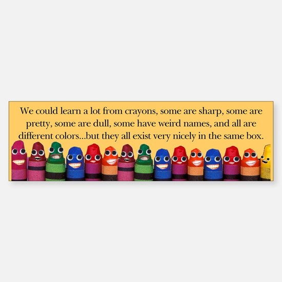 Peaceful Crayons Bumper Car Car Sticker