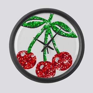 Sparkling Cherries Large Wall Clock