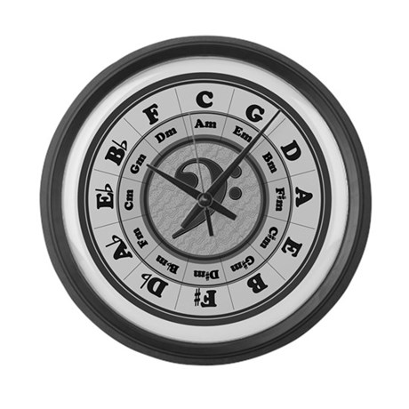 Bass Clef Circle Of Fifths Large Wall Clock By Chmdesign