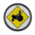 Tractor Crossing Sign - Large Wall Clock