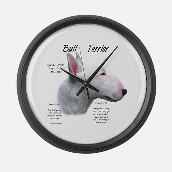 Bull Terrier (white) Large Wall Clock