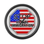 Stop Illegal Immigrants Large Wall Clock