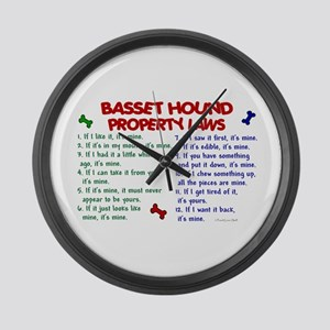 Basset Hound Property Laws 2 Large Wall Clock