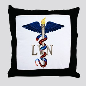 LVN Caduceus Throw Pillow