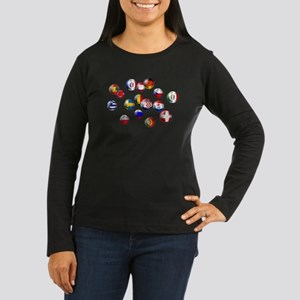 European Football Women's Long Sleeve Dark T-Shirt