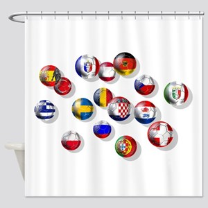 European Football Shower Curtain