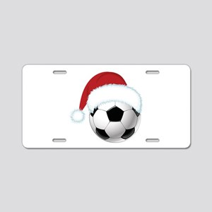 Santa Soccer Christmas Aluminum License Plate