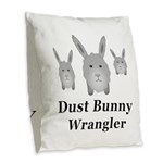 Dust Bunny Wrangler Burlap Throw Pillow