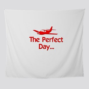 red perfect day airplane flying radi Wall Tapestry