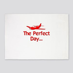 red perfect day airplane flying rad 5'x7'Area Rug