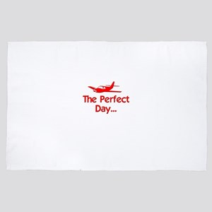 red perfect day airplane flying radio 4' x 6' Rug