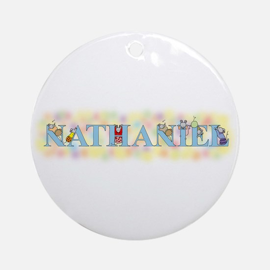 """""""Nathaniel"""" with Mice Ornament (Round)"""